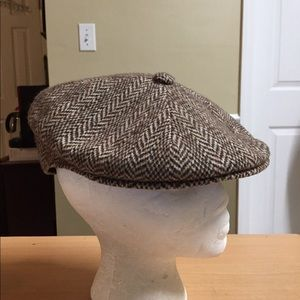 Kangol Brown Herringbone cabbie style cap men XL
